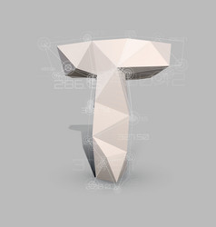 Capital latin letter t in low poly style vector