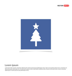 christmas tree icon - blue photo frame vector image