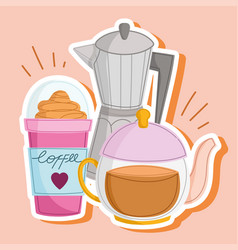 Coffee kettle and frappe vector