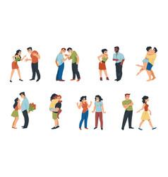 Couple relationship cartoon scenes romantic vector