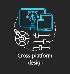 Cross platform design chalk concept icon vector
