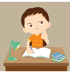 Cute boy thinking working on homework vector