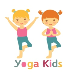 Cute yoga kids card with little girls doing yoga vector image