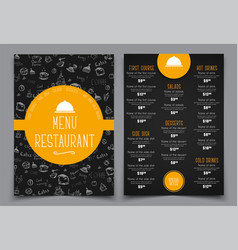 Design a menu for a cafe or restaurant vector