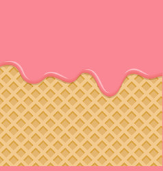 Dessert with pink cream melted on wafer vector