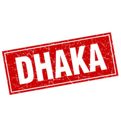 Dhaka red square grunge vintage isolated stamp vector