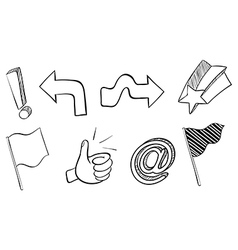 Doodle sets of different symbols vector image
