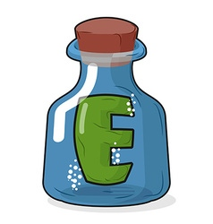 E in magic bottle Letter in a bottle for vector image