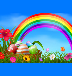easter eggs and colorful in the basket vector image