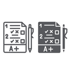exam line and glyph icon questionnaire and form vector image