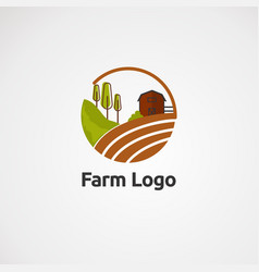 farm logo with house and tree concept icon vector image