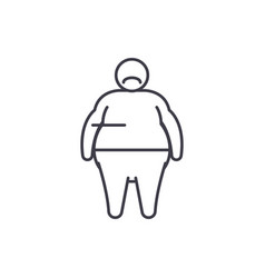 fat person line icon concept fat person vector image