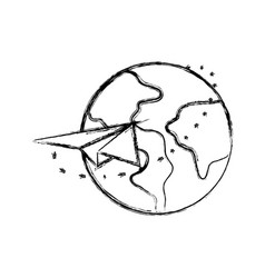 Figure global earth planet with paper airplane vector