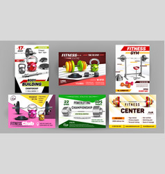 Fitness club sport advertise banners set vector