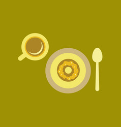flat icon on background coffee break cup donut vector image
