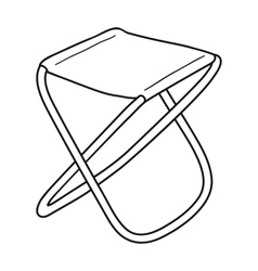 Folding stool icon in outline style isolated on vector