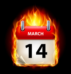 fourteenth march in calendar burning icon on vector image
