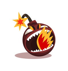 Furious bomb with burning wick funny emoticon in vector