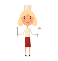 girl child in a cook cap holding a ladle logo vector image