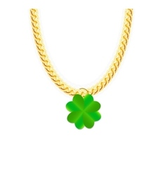 Gold chain jewelry whith green four-leaf clover vector