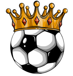 gold crown on a soccer ball isolated on white vector image