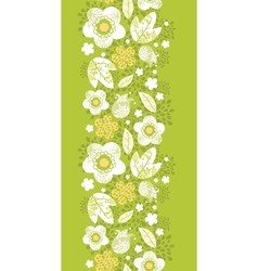 Green kimono florals vertical seamless pattern vector
