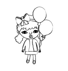 Grunge girl child with two tails and balloons vector