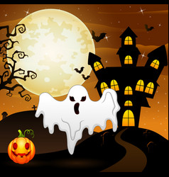 Halloween background with ghost and pumpkin vector