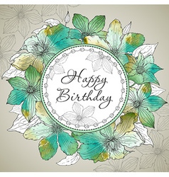 Happy Birthday greeting card with beautiful vector