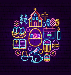 Happy easter neon concept vector