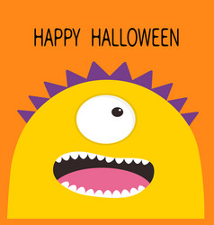 Happy halloween card monster head with one eye vector