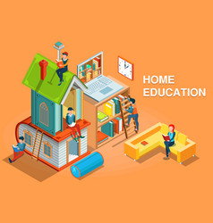 Home education isometric concept vector