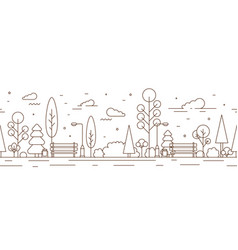 Horizontal seamless pattern with empty city park vector