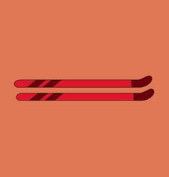 Icon in flat design ski vector