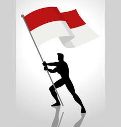 Indonesia or monaco flag bearer vector