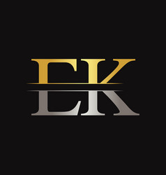 initial ek letter linked logo business template vector image