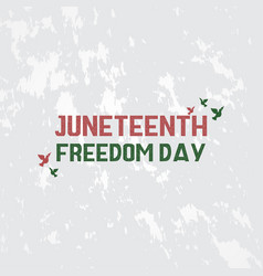 juneteenth freedom day with ribbon and flag vector image