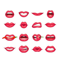 lips collection beautiful girl smiling kissing vector image