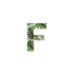 logo letter f tropical leaves vector image