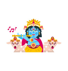 Lord krishna sitting in the lotus position vector