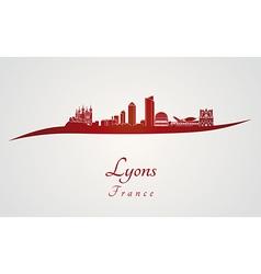 Lyons skyline in red vector