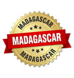 Madagascar round golden badge with red ribbon vector