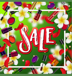 Make up accessories beauty store sale vector