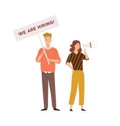 Male and female hr managers announce vacancy vector