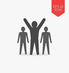 Man with raised hands leadership success icon Flat vector image