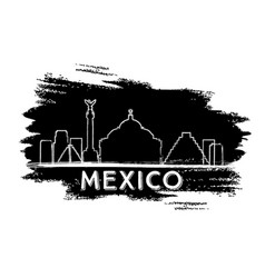 Mexico skyline silhouette hand drawn sketch vector