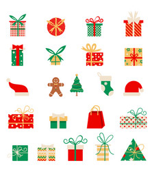 new year icons set of christmas elements in a vector image