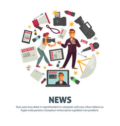 News people working in mass media field vector