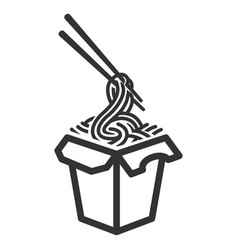 noodles box black icon traditional spicy fast vector image
