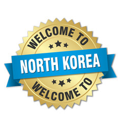 North korea 3d gold badge with blue ribbon vector